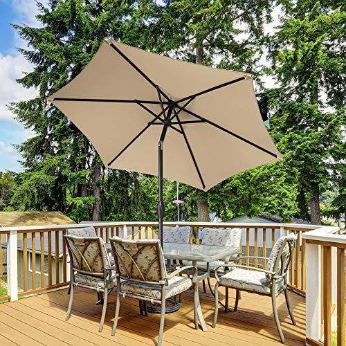 SERWALL Paraguas de 3 m para patio al aire libre, paraguas de mesa con botón de inclinación, manivela y 8 varillas resistentes para césped, jardín, terraza, patio trasero y piscina (beige))