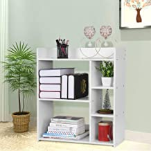 Mefedcy Simple Bookcase,Casual Combination Bookcase Bookshelf Home Multi-Layer Floor Rack,Storage Shelf, 23.6×9.5×26.8in (White)