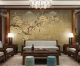 Behang 3D Behang Muurschilderingen Gouden Bloemen en Vogels Muurschildering 3D Slaapkamer Behang voor Woonkamer Muur Papie...
