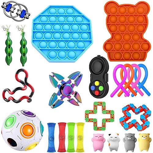 22-26 Piezas Sensory Fidget Toys, Juego de Juguetes sensoriales, Juego De Juguetes Sensoriales Fidget Toys Set Alivia El Estrés TDAH Adicción Y La Ansiedad Fidget Toy para Adultos, Niños (H)