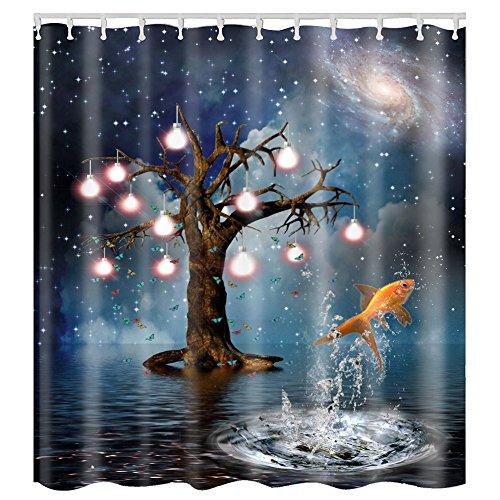 Litthing Duschvorhang Blauer Ozean Muster Top Qualität Wasserdicht, Anti-Schimmel-Effekt 3D Digitaldruck mit 12 Duschvorhangringe für Badezimmer 180x180cm (Gold)