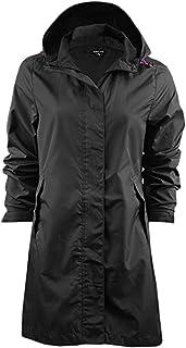 Womens High Shine Black Hooded Rain Coat Sizes 6 8 10 12 14 16