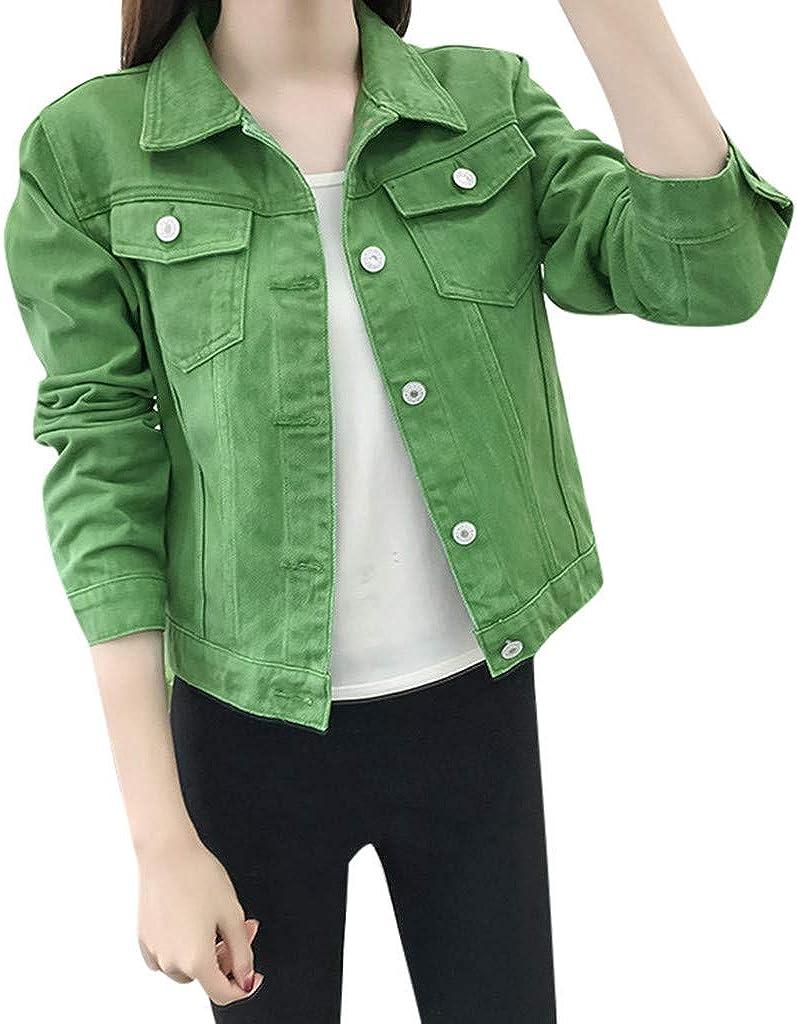Women Fashion Solid Color Lapel Short Denim Jackets Casual Button Down Blazer Jeans Jacket Cardigan