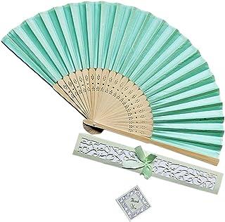 EWUEJNK Abanico Plegable,La Mujer De Mano De Bambú Hueco Ventilador Ventilador Plegable,Azul Adecuado para Boda Regalo Dama Danza Ventilador Ventilador Plegable Metro