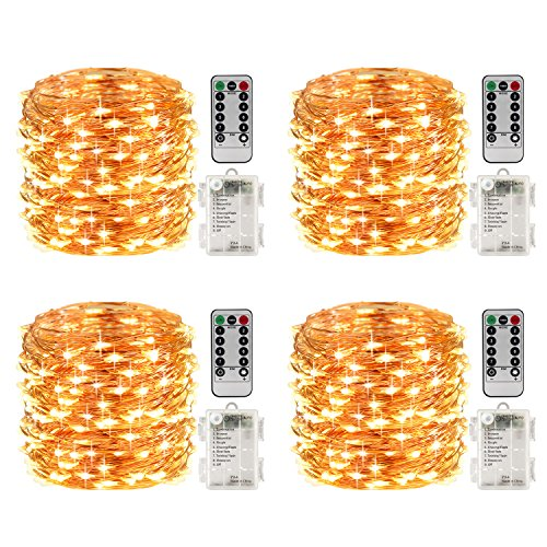 LightsEtc 4 Pack 50 Led String Fairy Lights Battery Operated Waterproof Christmas