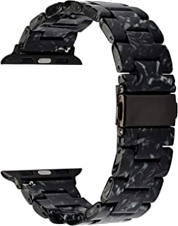 MAIRUI Compatible with Apple Watch Band 40mm 38mm, Series 4/5 Slim Resin Bracelet Wristband Lightweight Strap Replacement for iWatch Series 5/4/3/2/1, Sport/Edition (Black Marble)