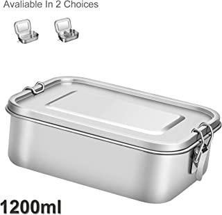G.a HOMEFAVOR Divided Stainless Steel 2 Compartments bento lunch box with Lock Clips Design, 1200ML Metal Lunch Box Containers for Kids or Adults- Dishwasher Safe - Leak Proof (With Compartments)