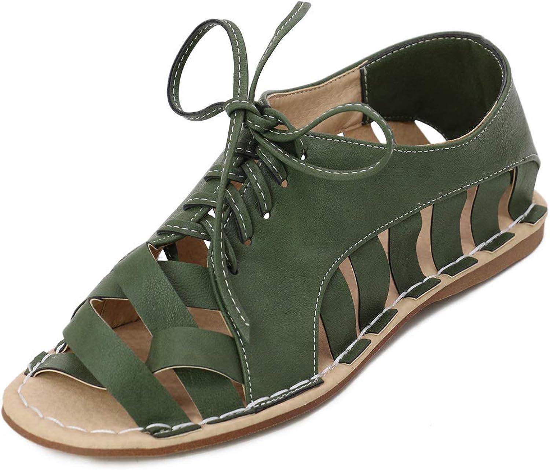 Vimisaoi Women's Comfy Peep Toe Criss Cross Flat Sandals, Cutout Lace-up Bohemia Espadrilles Slip On Wedges Outdoor shoes
