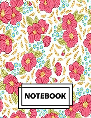 White Daily Writing Journal with Pink Blue and Green Flowers