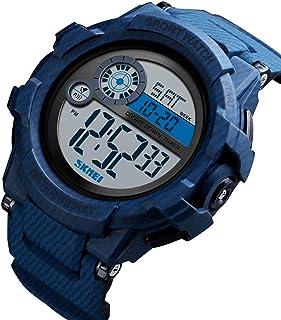 ساعة 1387 للرجال انالوج رقمية إلكترونية ساعة عصرية عادية رياضية للرجال ساعة معصم 3 وقت عرض إنذار ساعة إيقاف 5ATM مقاومة لل...