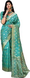 فستان هندي أخضر لحفلات الكوكتيل من نسيج ناعم من الحرير بناراسي بتصميم أنيق 6095