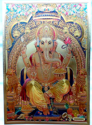 Bild POSTER Ganesha Ganesh goldfarben aus Kunststoff 30x21 cm Nr.24