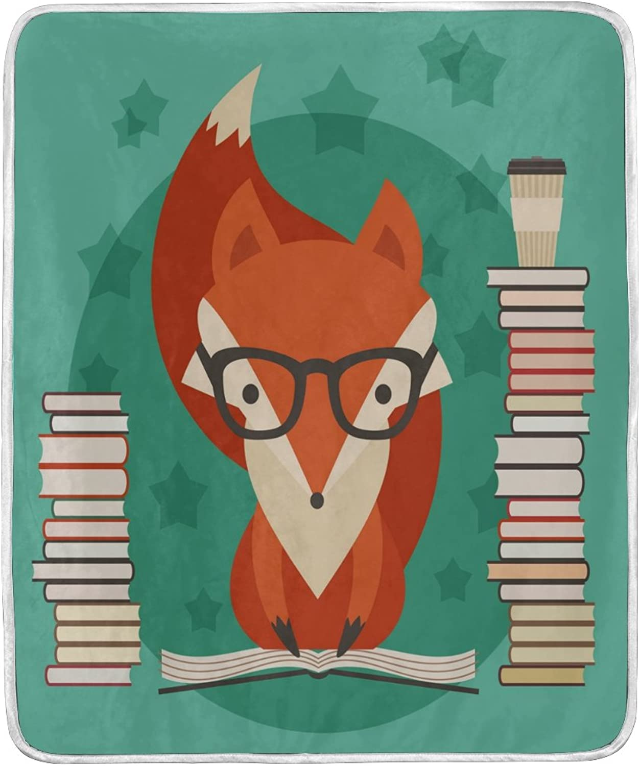 ALAZA Cute Fox with Glasses Read Book Blanket Soft Warm Cozy Bed Couch Lightweight Polyester Microfiber Blanket Throw Size 50  W x 60  L for Kids Women Boy