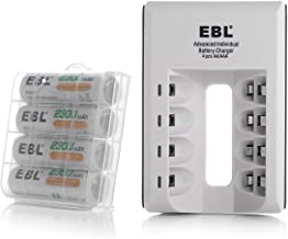 EBL AA AAA Ni-MH Ni-CD Individual Smart Battery Charger with AA Rechargeable Batteries 2300mAh 4 Packs