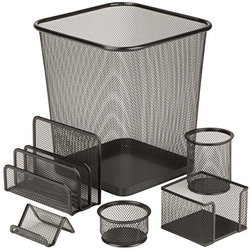 Honey-Can-Do 6-Piece Powder Coated Steel Mesh Desk Set, Black