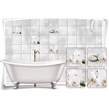 Tile Stickers Tile Picture Flower Candle Decorative Wellness STICKERS TILES BATHROOM WC