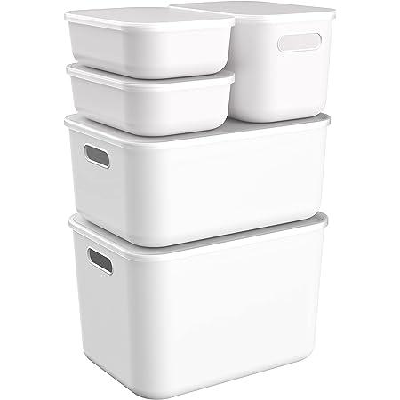 NoriaPipa Boite de Rangement Design en Plastique Blanc Recyclable Ultra Résistant | pour Bureau, Cuisine, Salle de Bain, Meuble, Penderie… (4L, 7.5L, 15L, 22.5L, Lot de 5, Couvercle Translucide)