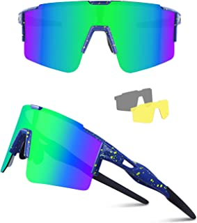 Ukoly Cycling Sunglasses for Men Women with 3 Interchangeable Lenses, Polarized Sports Sunglasses, Baseball Sunglasses