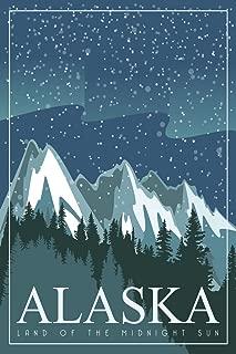 Alaska Land of The Midnight Sun Retro Travel Art Cool Wall Decor Art Print Poster 12x18
