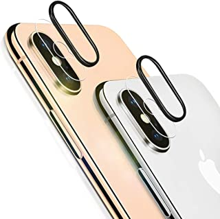 iPhone Xs Max Camera Lens Protector, [2 Pack] Ultra-Thin Anti-Scratch Camera Tempered Glass Screen Protector Film with 2pcs Camera Protective Ring for iPhone Xs Max/XS (NOT Fit for iPhone X)
