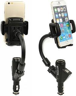 Funwill デュアル USB 2xUSBポート クリック式 スマートフォン 車載ホルダー 車のシガーライターソケット 充電器 マウントホルダー 二台同時充電可能