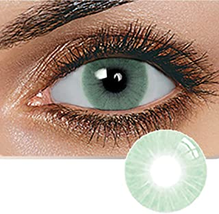 Unisex Contact Lenses, Natural and Beauty Collection Cosmetic Contact Lenses, 12 Months Disposable with Case- Verde