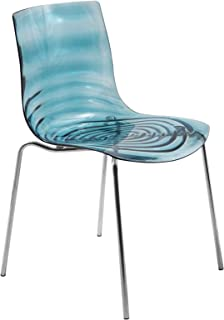 LeisureMod Water Ripple Design Modern Lucite Dining Side Chair with Metal Legs (Blue)