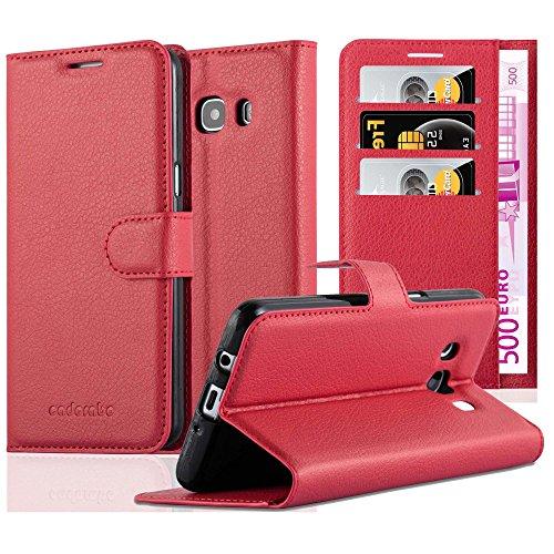 Cadorabo Custodia Libro per Samsung Galaxy J5 2016 in Rosso Carminio - con Vani di Carte, Funzione Stand e Chiusura Magnetica - Portafoglio Cover Case Wallet Book Etui Protezione