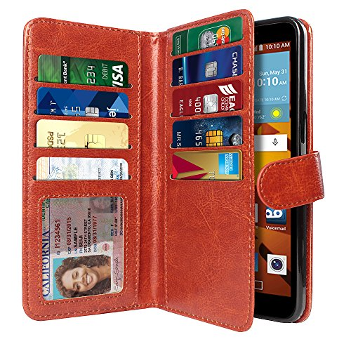 NEXTKIN Case Compatible with LG G Stylo LS770 / G Vista 2 H740 2nd 2015, Leather Dual Wallet TPU Cover, 2 Pockets Double Flap, Multi Card Slots Snap Button Strap for LG G Stylo LS770 - Dark Brown