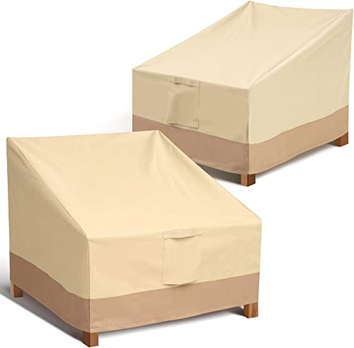 Outdoor Chair Patio Furniture Covers - Heavy Duty Lounge Deep Seat Cover for All Weathers, Durable Patio Covers for B...