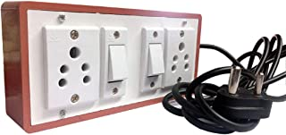 HI-PLASST PINS N PLUGS (2+2) Multi-outlet Electrical Switch Board with 5A 2 Anchor Sockets, 5A 2 Anchor Switches and 4 m Long Wire Power Strip, Brown
