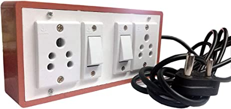 Hi-PLASST (2+2) Brown Extension Board Multi outlet Electrical Switch Board with 2 Anchor Sockets(5A) and 2 Anchor Switches(5A)-4Mtr Long Wire Power Strip
