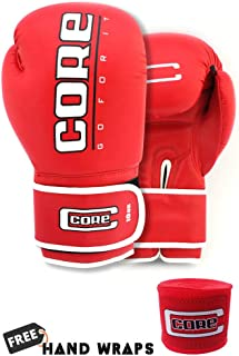 Core Boxing Gloves with Free Hand wrap Adult Sparring Training Boxing Gloves Pro Punching Heavy Bags mitt UFC MMA Muay Thai for Men & Women Fight Boxing Gloves and Kickboxing
