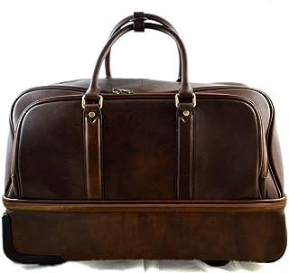Borsone in pelle borsa viaggio trolley pelle rigido borsa con ruote manico borsa cabina bagaglio a mano uomo donna borsa p...