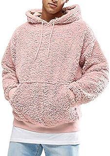 MU2M Mens Autumn Quarter Zip Drawstring Hoodie Sweatshirt Solid Pullover