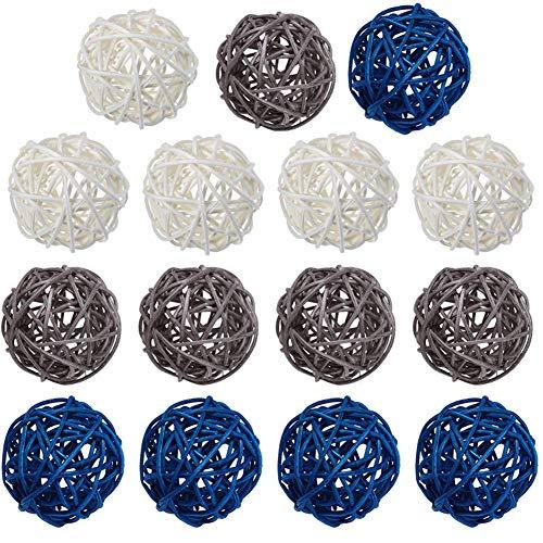 15 Pcs Wicker Rattan Balls Table Wedding Party Christmas Decoration...