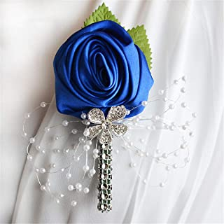 FYSTORE Prom Boutonniere Royal Blue, White, and Silver Grey Artificial Boutonniere Corsage for Prom, Party, Wedding (Blue)