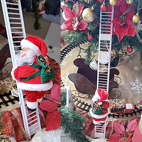 Huaxiangoh Scala di Arrampicata su Scala di Babbo Natale Scala di Arrampicata Babbo Natale Figurine di Natale Ornamento Decorazione per Decorazioni Natalizie Regali di Natale per Bambini