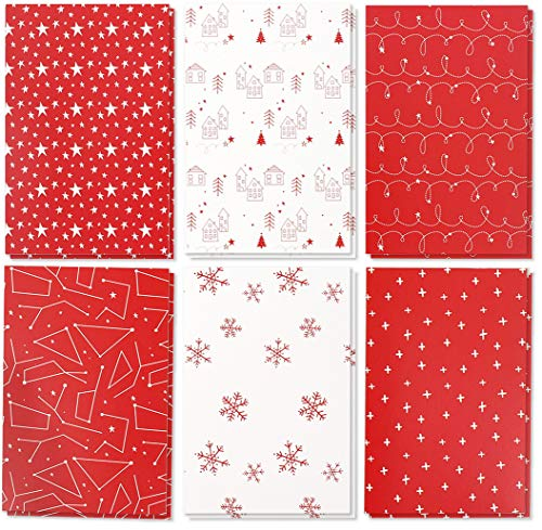 36-pack biglietti di auguri di buon Natale confezione bulk set–Winter Holiday biglietti di auguri di Natale con rosso e bianco design, buste incluse, 10,2x 15,2cm