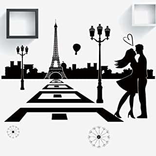VODOE France Paris Wall Decals, Eiffel Tower Wall Decal,Love Quotes City Skyline Couple Romantic Balloon Stickers Suitable for Roomates Family Living Vinyl Art Home Decor(Black 38.9 X 15.7 inches)