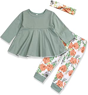 Kids Toddler Baby Girl Clothing Valentine's Day Ruffle Dress Shirt Tops Floral Pants +Headband Spring Summer Outfits