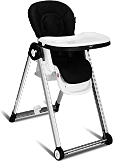 INFANS Folding High Chair for Babies &Toddlers, Space Saving with Multiple Adjustable Backrest, Footrest and Seat Height, Front Wheels, Removable Trays, Detachable Cushion, Storage Basket (Black)