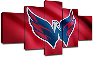 Washington Capitals NHL Hockey Team Logo Framed Wall Art Decor Modern Art Paintings 5 Piece Canvas Decoration Wall Picture Gift for Boys Artwork Ice Hockey Prints Poster(60''Wx32''H)