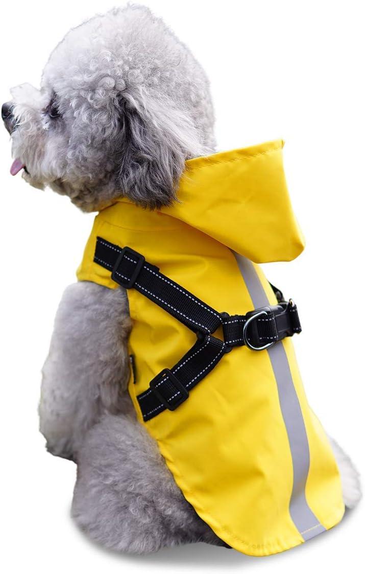 Chubasquero para perro con arnés, poncho de lluvia para mascotas pequeño con capucha – Impermeable reflectante para perros pequeños, medianos y pequeños, amarillo XXL