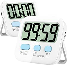 Kitchen Timer, 2 Pack Digital Kitchen Timer Magnetic Countdown Stopwatch Timer with Loud Alarm, Big Digit, Back Stand, Han...