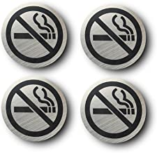 No Smoking Sign Ø 2.5 inch Brushed Stainless Round Signs Wall Sign Door Sign