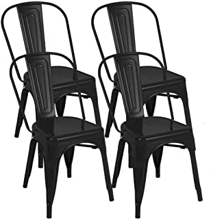 BONZY HOME Metal Dining Chairs, Stackable Side Chairs with Back, Indoor Outdoor Use Chair for Farmhouse, Patio, Restaurant, Kitchen, Set of 4(Black)