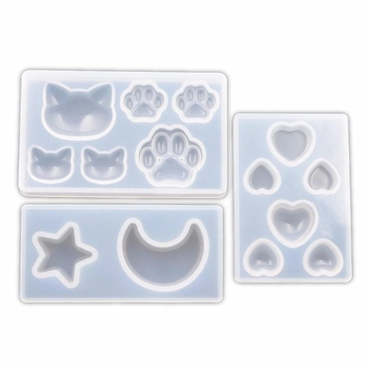 3 Pcs Star Moon/Cat Footprint/Love Heart Jewelry Silicone Mold with Hole for Polymer Clay, Crafting, Resin Epoxy, Pendant Earrings Making, DIY Mobile Phone Decoration Tools 010168/010169/010170