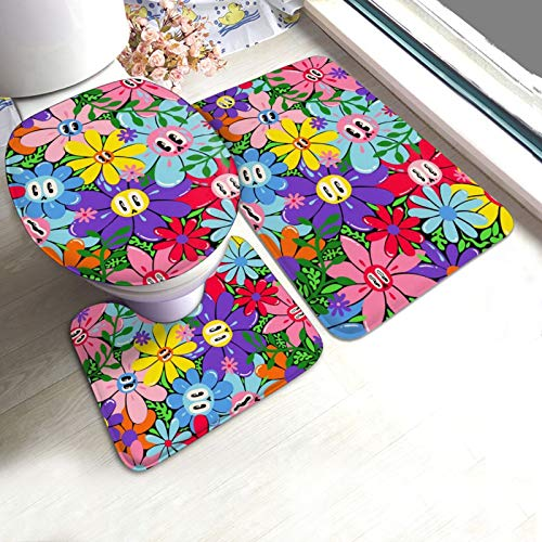 Antiskid Pad Mats Set 3 Piece Funny Expression Flowers Weeds Bathroom Mat Pedestal Rug+U Shaped Contour Mat+Lid Toilet Cover Pad