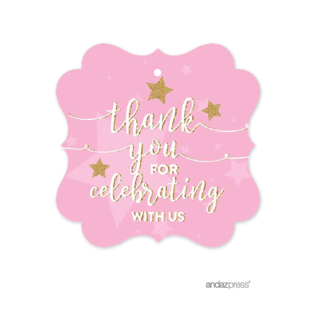 Andaz Press Twinkle Twinkle Little Star Pink Baby Shower Collection, Fancy Frame Gift Tags, Thank You for Celebrating with US, 24-Pack